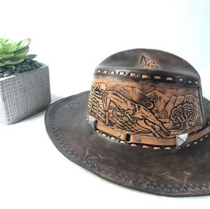 Vintage Hand Tooled Leather Western Cowboy Hat